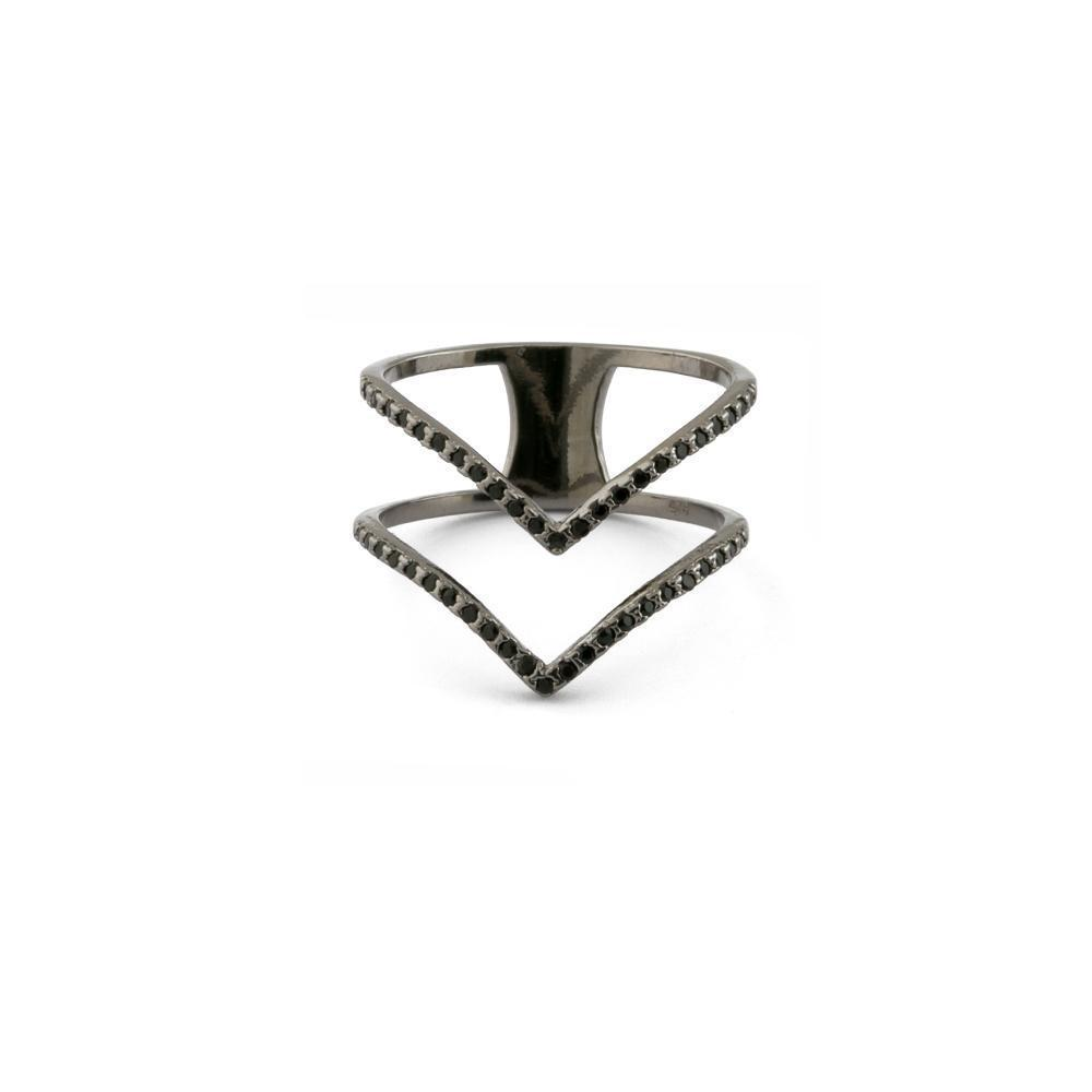 DOUBLE V CHEVRON BLACK RING
