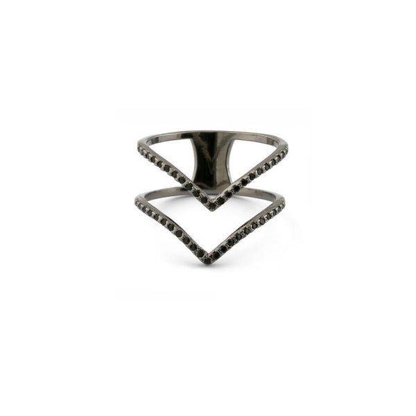 DOUBLE V CHEVRON BLACK RING-Rings-MEZI
