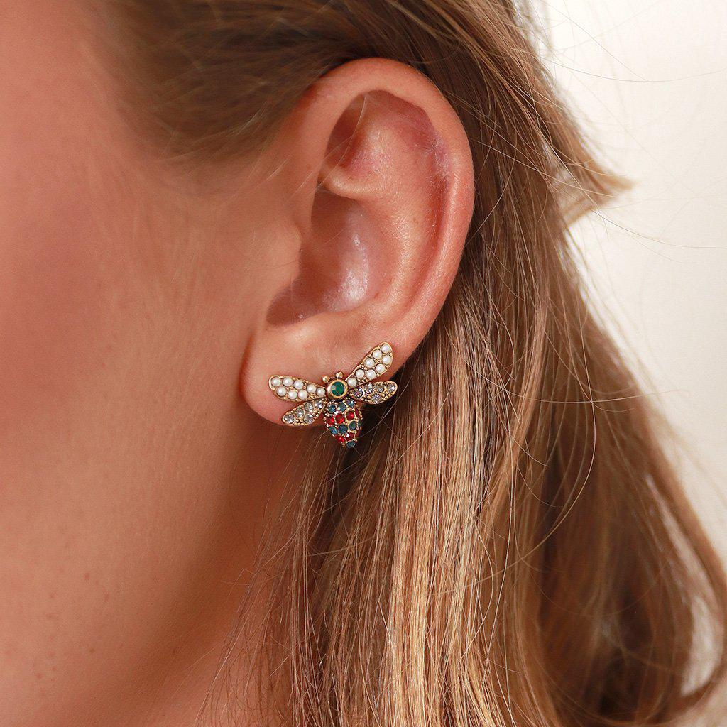 DRAGONFLY CRYSTAL AND PEARL LARGE STUDS EARRINGS