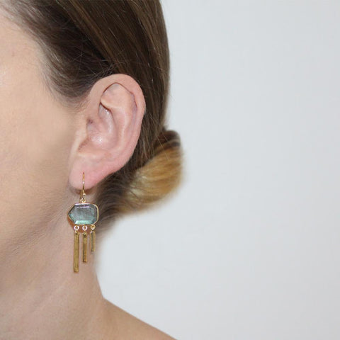 DREW LABRADORITE GOLD DROP EARRINGS