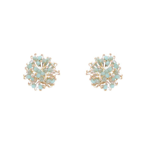 EDA MINT CRYSTAL STUDS-Earrings-MEZI