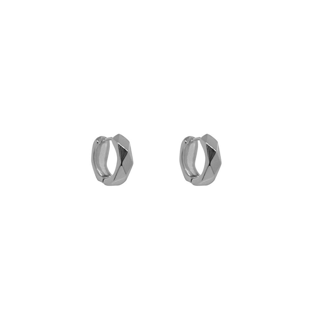 EKON STERLING SILVER JAGGED HOOP EARRING