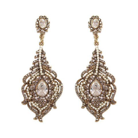 ELAS CRYSTAL & PEARL EARRINGS-Earrings-MEZI