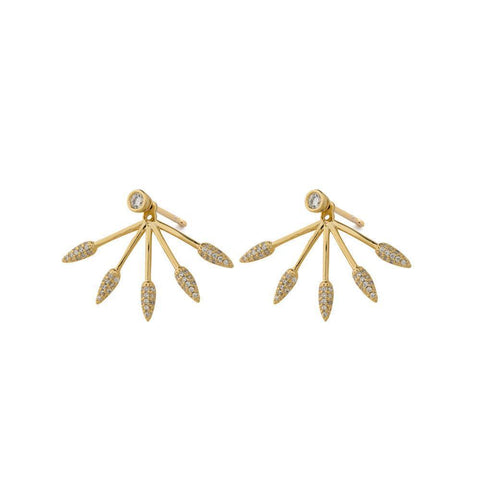 ELLA GOLD CRYSTAL JACKET EARRINGS-Earrings-MEZI