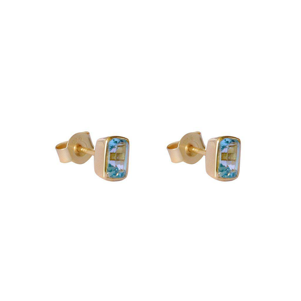 ELLIE GOLD CHALCEDONY SEMI-PRECIOUS STUDS EARRINGS