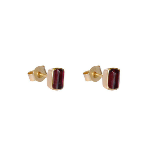 ELLIE GOLD GARNET SEMI-PRECIOUS STUDS EARRINGS