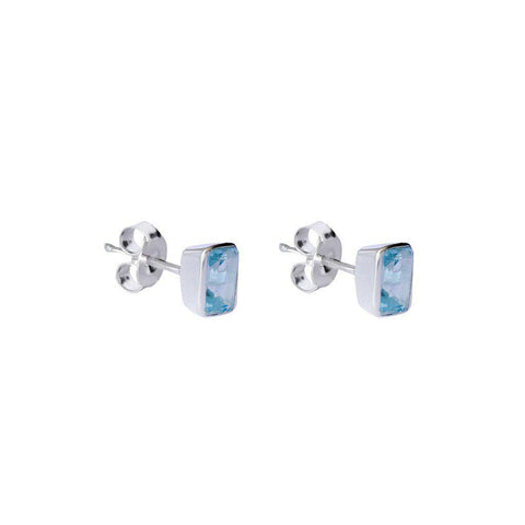 ELLIE STERLING SILVER CHALCEDONY SEMI-PRECIOUS STUDS EARRINGS