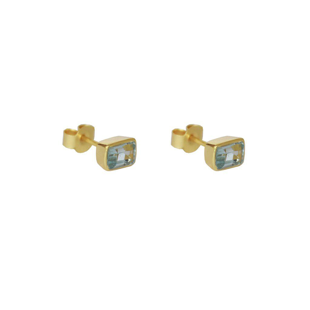 ELLIE GOLD BLUE TOPAZ SEMI-PRECIOUS STUDS EARRINGS