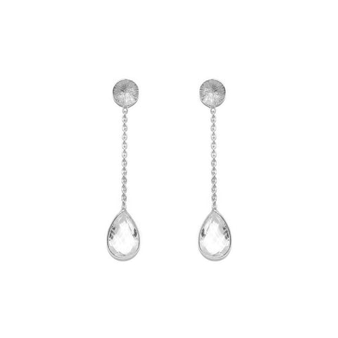 EMERSON CLEAR QUARTZ SILVER DROP EARRINGS