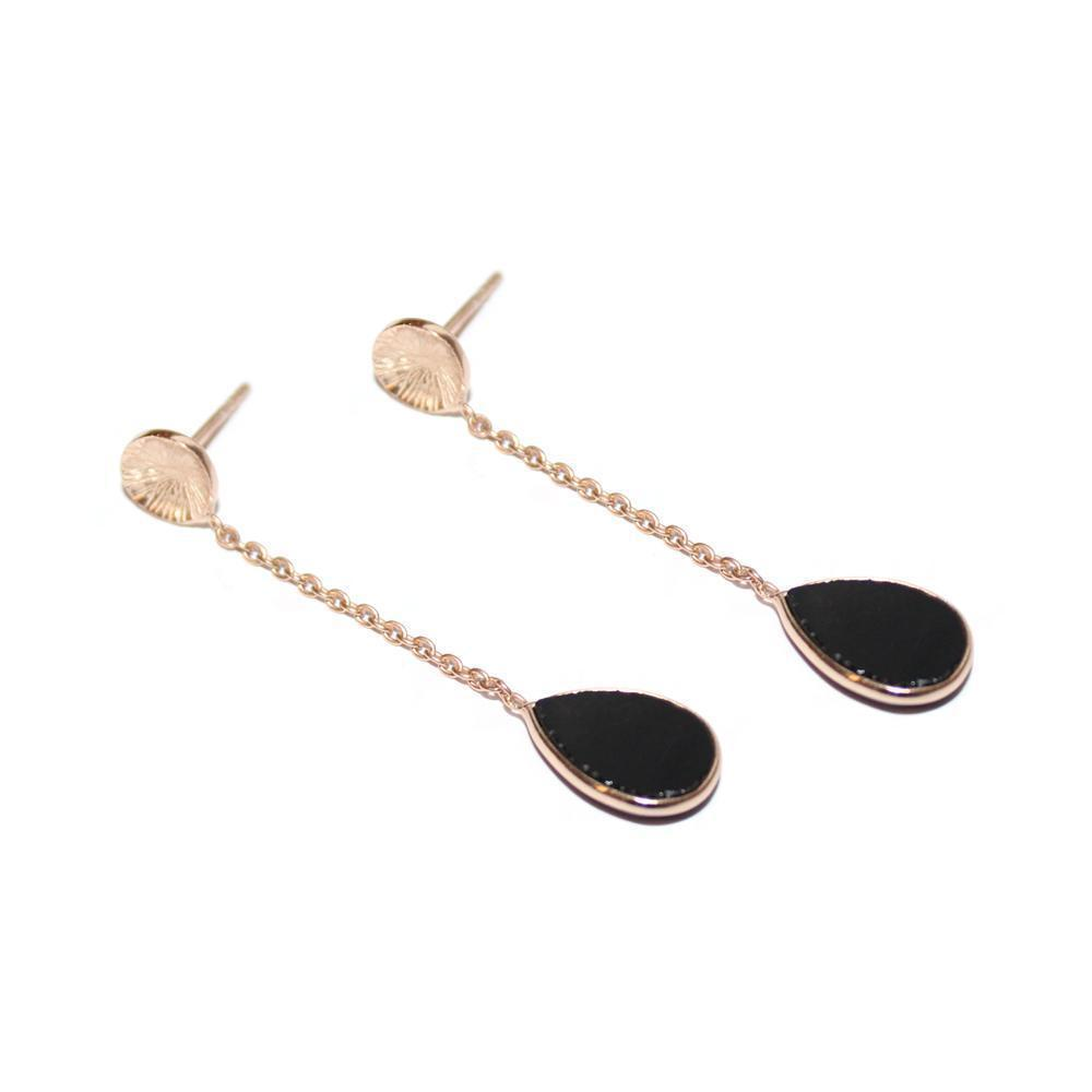 EMERSON ONYX QUARTZ ROSE GOLD DROP EARRINGS