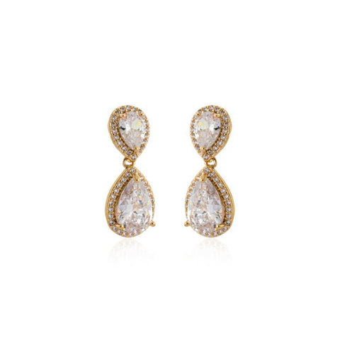 EMILIE GOLD TEARDROP CRYSTAL EARRING-Earrings-MEZI