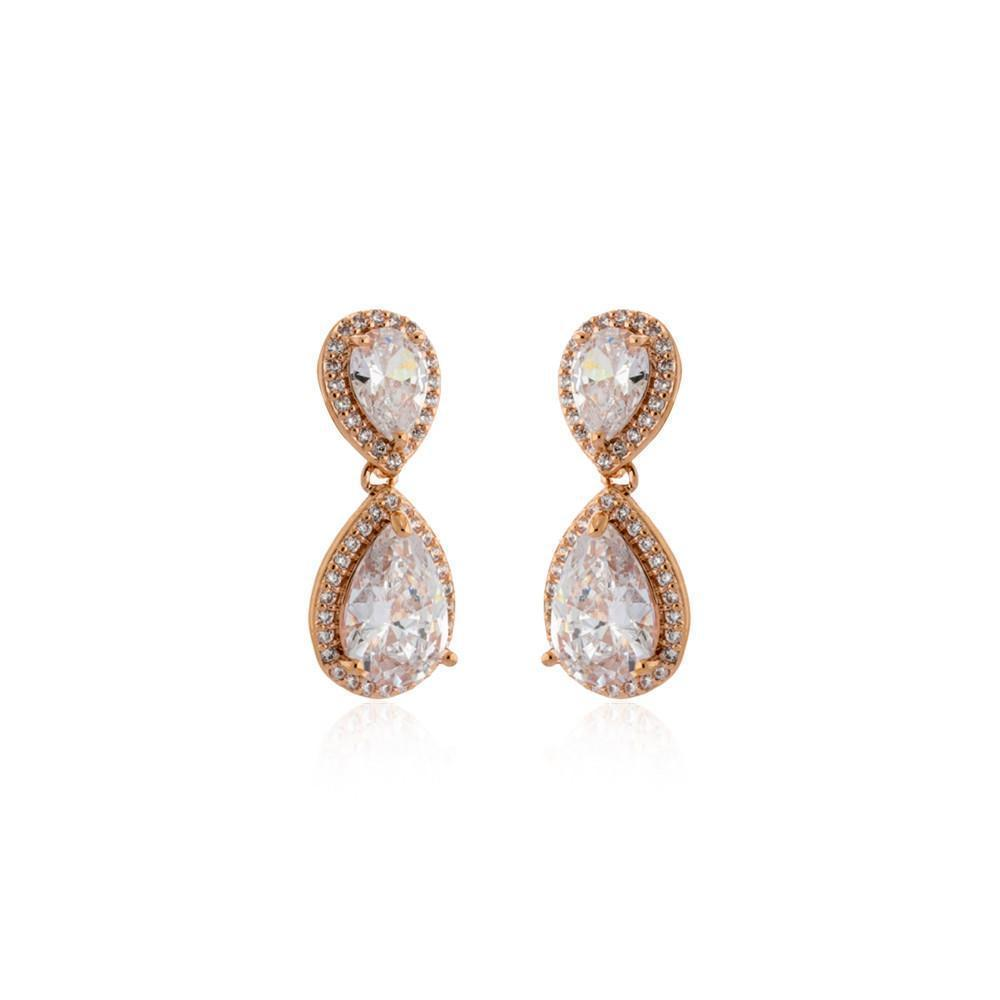 EMILIE ROSE GOLD TEARDROP CRYSTAL EARRING