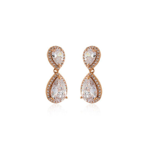 EMILIE ROSE GOLD TEARDROP CRYSTAL EARRING-Earrings-MEZI