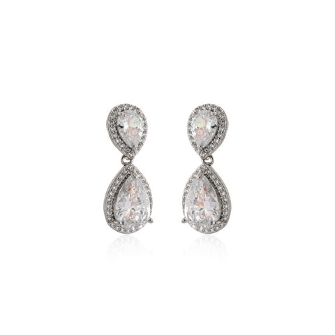 EMILIE SILVER TEARDROP CRYSTAL EARRING-Earrings-MEZI