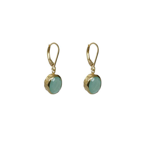 EMMA CHALCEDONY SEMI-PRECIOUS 2 MICRON GOLD EARRINGS
