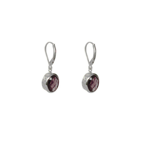 EMMA GARNET SEMI-PRECIOUS SILVER EARRINGS