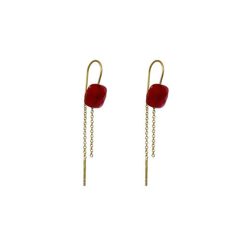 EMORY CARNELIAN SEMI-PRECIOUS 2 MICRON GOLD EARRINGS