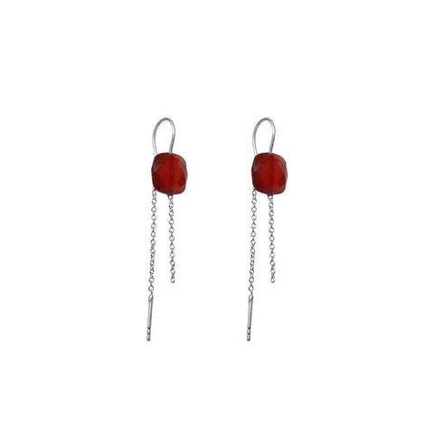 EMORY CARNELIAN SEMI-PRECIOUS SILVER EARRINGS