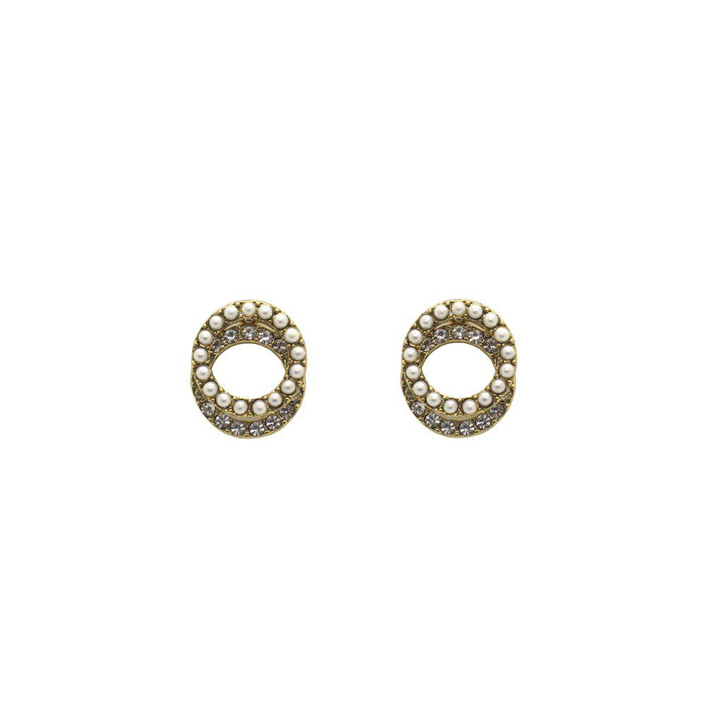 ENAR DOUBLE CIRCLE CRYSTAL STUDS