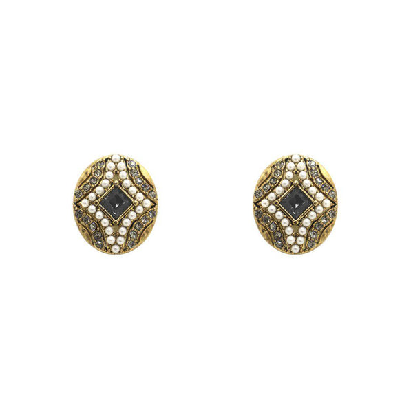 ERELA BLACK CRYSTAL AND PEARL STUDS