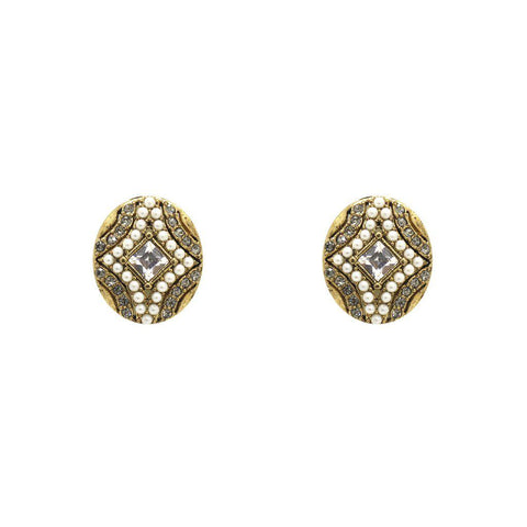 ERELA CLEAR CRYSTAL AND PEARL STUDS