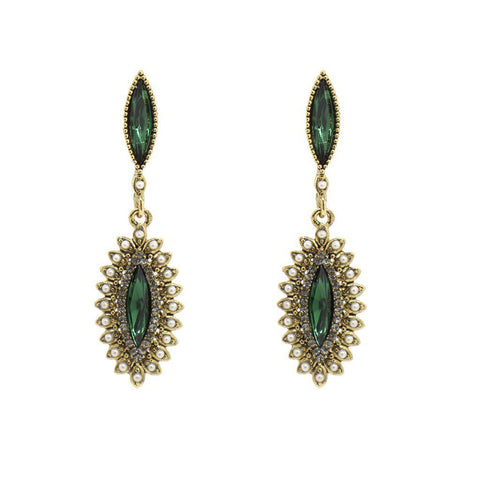 ERIK GREEN CRYSTALS AND PEARL EARRINGS