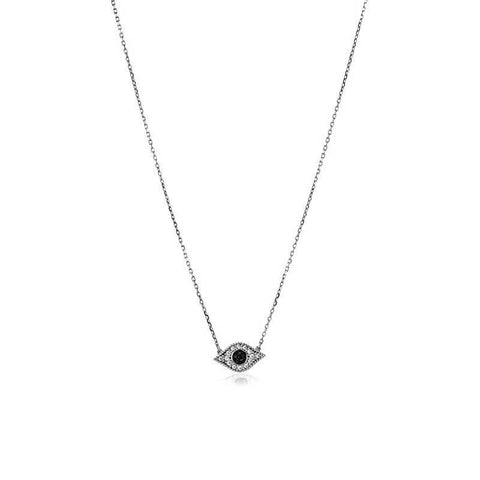 EVIL EYE ALMOND SHAPE SILVER PENDANT-Necklaces-MEZI