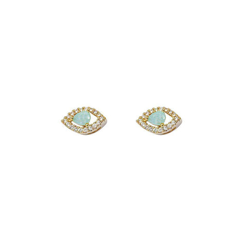 EVIL EYE AQUA GREEN CRYSTALS STUD