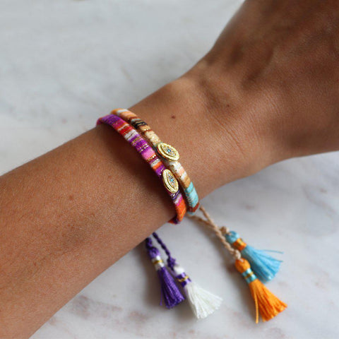EVIL EYE COLORFUL TASSEL BRACELET