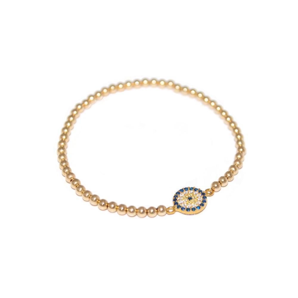EVIL EYE GOLD BALL STRETCH BRACELET-Bracelets-MEZI