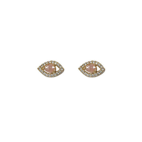 EVIL EYE PINK CRYSTALS STUD