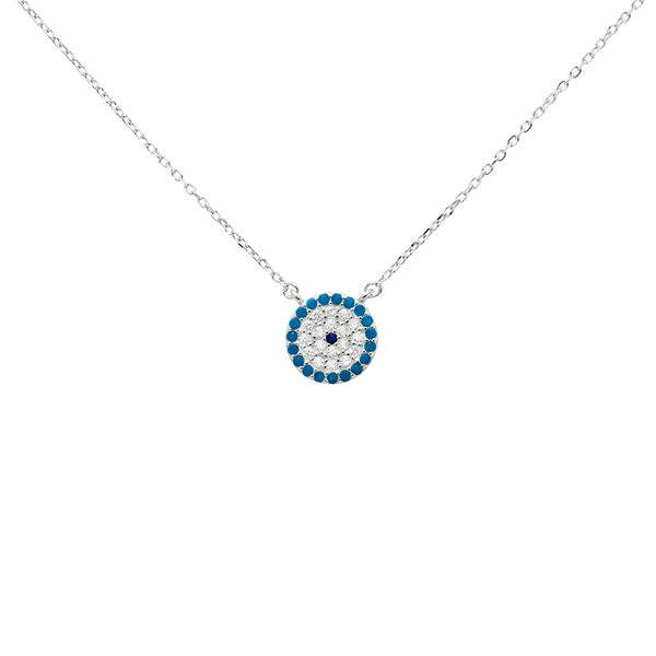 Evil eye sterling silver crystal pendant