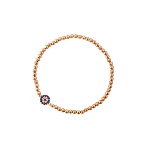EVIL EYE ROSE GOLD BALL STRETCH BRACELET