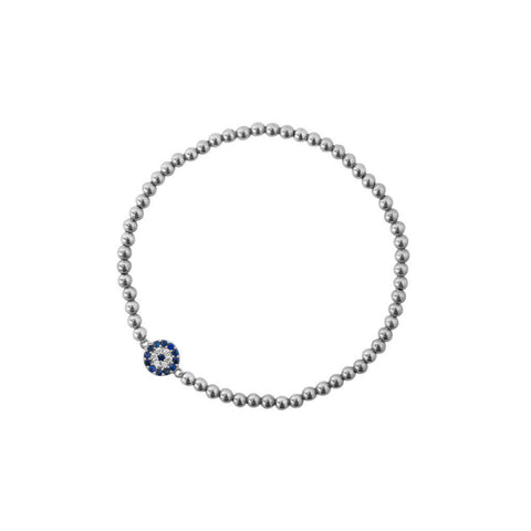 EVIL EYE SILVER BALL STRETCH BRACELET