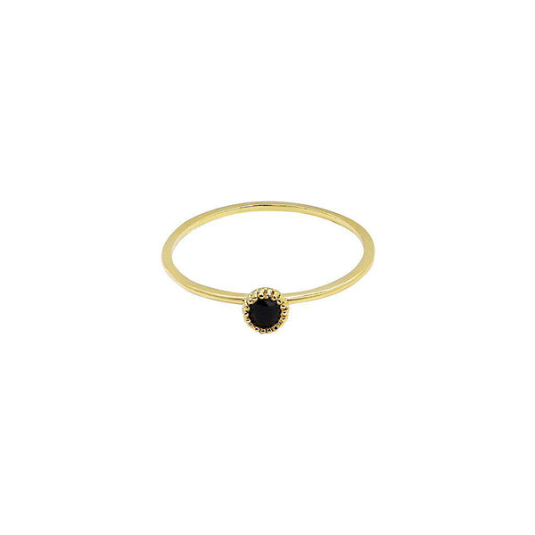 FAER BLACK SEMI-PRECIOUS STONE RING