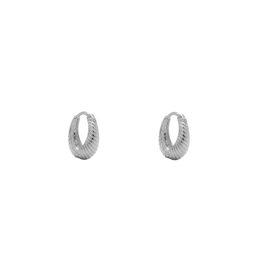 FAYOLI STERLING SILVER TEXTURED HOOP EARRING
