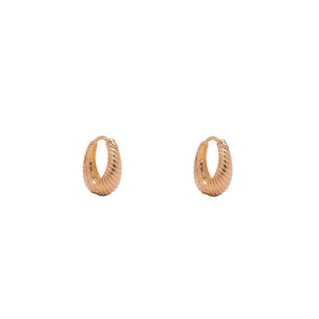 FAYOLI 2 MICRON ROSE GOLD TEXTURED HOOP EARRINGS