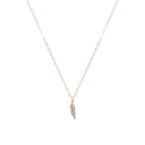 FEATHER SMALL GOLD FILLED PENDANT-Necklaces-MEZI