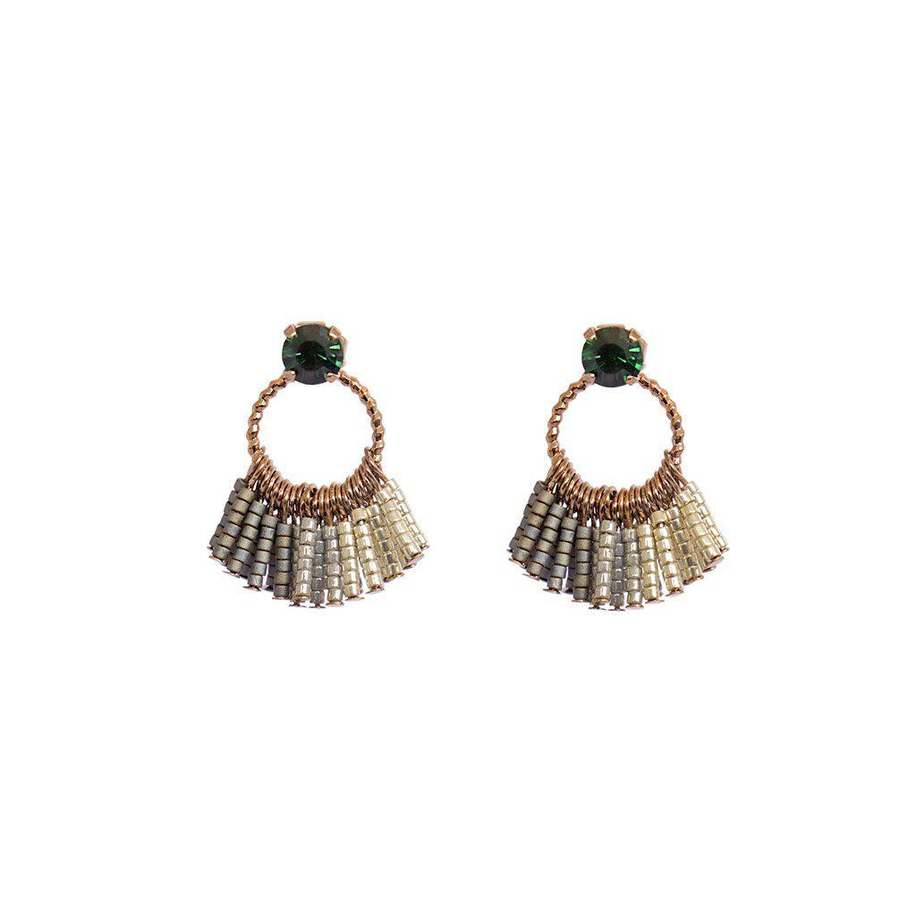 FESTA GREEN SWAROVSKI GOLD EARRINGS