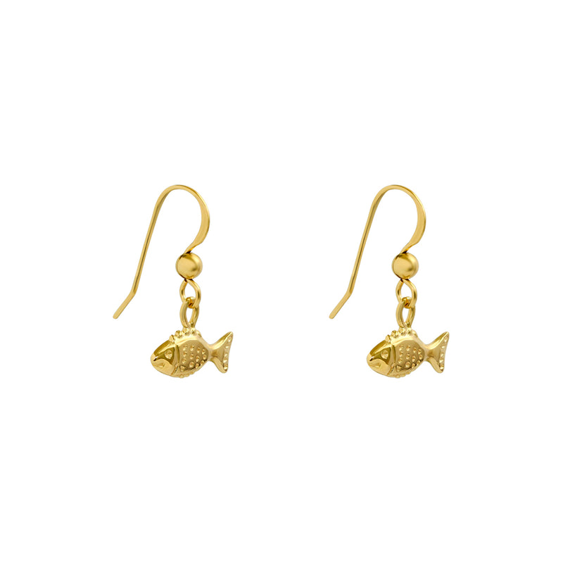fish gold filled drop earrings