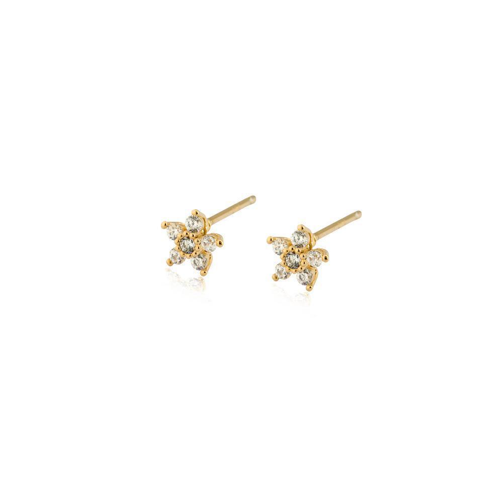 FLOWER GOLD CRYSTAL STUD EARRING