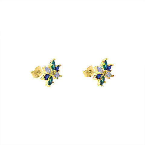 FLOWER GOLD SWAROVSKI CRYSTAL STUDS
