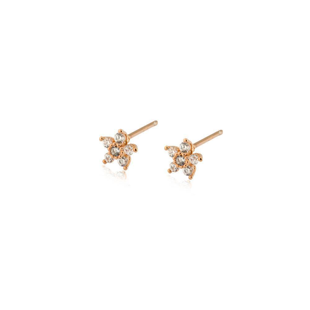 FLOWER ROSE GOLD CRYSTAL STUD EARRING-Earrings-MEZI