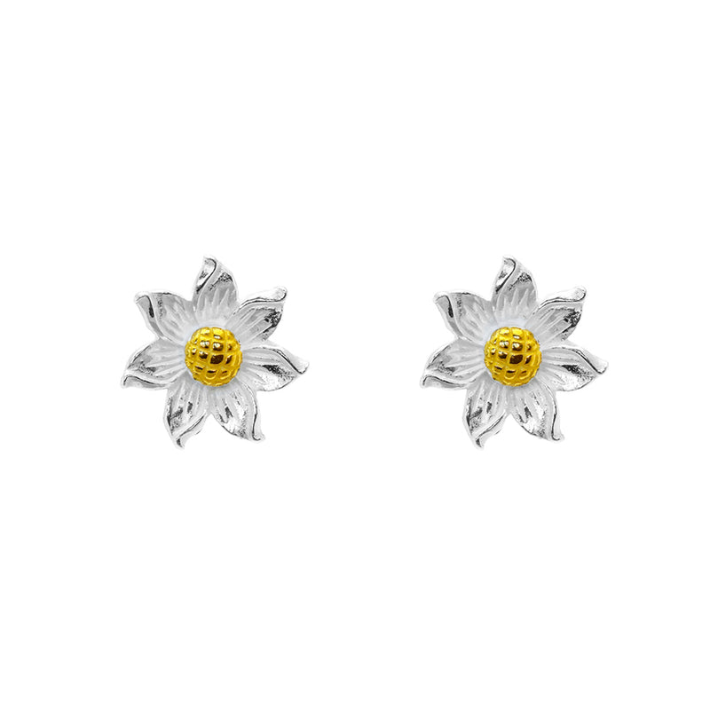 Flower two tone silver studs
