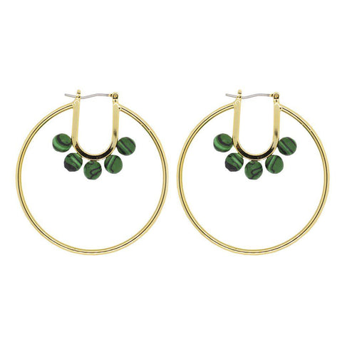 FRANZ GOLD GREEN BEADS HOOP EARRINGS