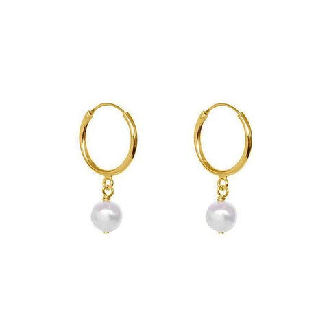 FRESHWATER PEARL GOLD HOOP EARRINGS