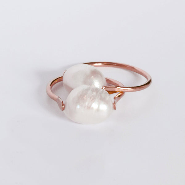 GAEL FRESHWATER PEARL ROSE GOLD RING