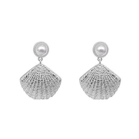 GAIA SHELL BASED SILVER FASHION EARRINGS