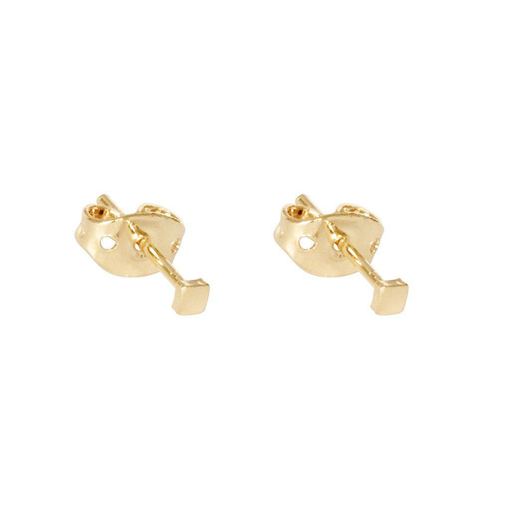 GANIA SQUARE 2MICRON GOLD PLATED STUDS