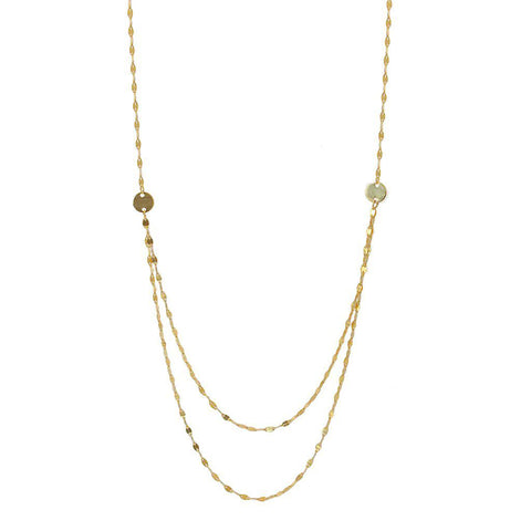 GERRI STERLING SILVER/GOLD PLATED DOUBLE CHAIN NECKLACE